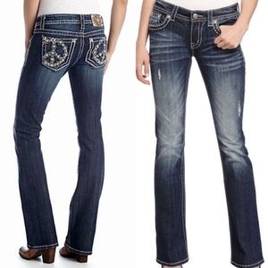 Miss Me jeans peace sign bling pockets denim jeans